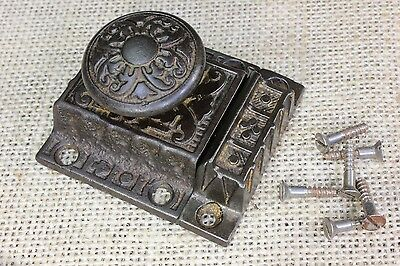"Cabinet latch jelly cupboard 2 1/4"" catch flower cast knob old vintage 1890 date"