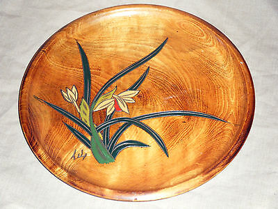 Vintage Hand Carved Timber Decorative Plate with Lily Flowers