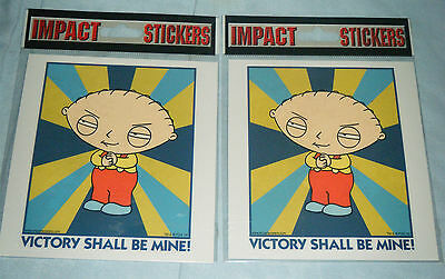 2x New in Pack Family Guy Stewie 'Victory Shall Be Mine!' Stickers