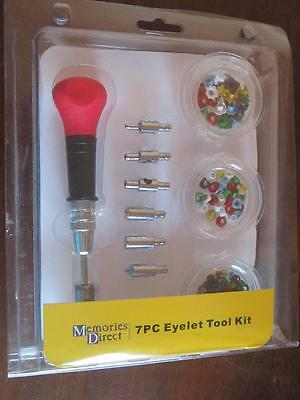 Memories Direct 7 Pieces Eyelet Tool Kit Craft 3 Sized Holes and Eyelets Scrapbo