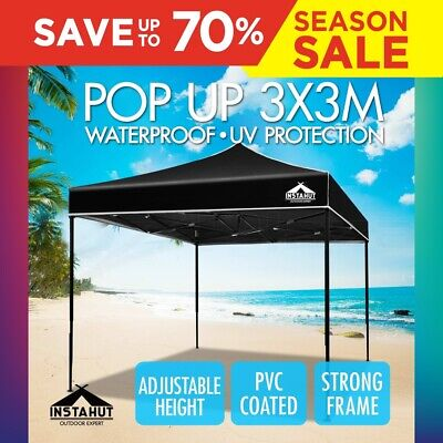 3x3M Outdoor Gazebo Pop Up Folding Marquee Party Stall Event Tent Canopy Black