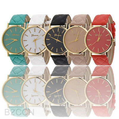 Fashion Womens Casual Faux Leather Band Wrist Watch Classic Quartz Dress Watches