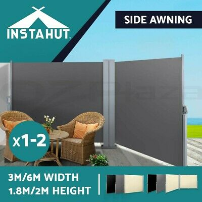 Instahut 1.8X3M 2X6M Retractable Side Awning Shade Home Patio Screen Panel