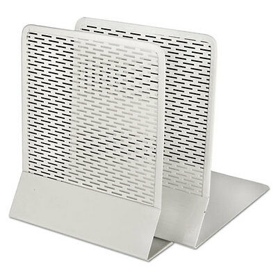 """""""Urban Collection Punched Metal Bookends, 6 1/2 X 6 1/2 X 5 1/2, White"""""""