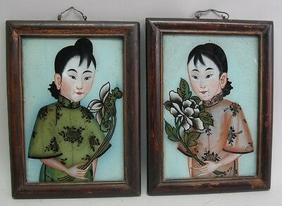 Fine Pair of Antique Chinese Reverse Painting on glass c. 1820 Ladies w/ Flowers