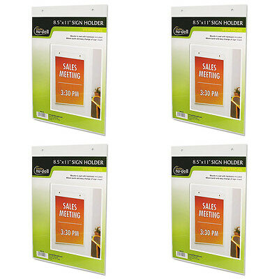 Nu-Dell 38011Z Clear Plastic Sign Holder, Wall Mount, 8 1/2 x 11 Inches, 4 Packs
