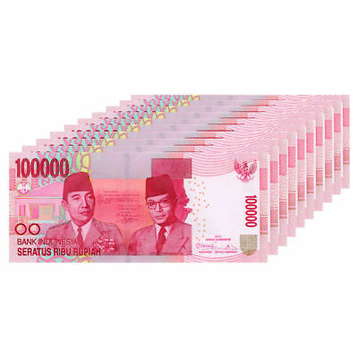 INDONESIAN RUPIAH 100,000 X 10 = 1 Million (1,000,000) IDR CIRCULATED INDONESIA