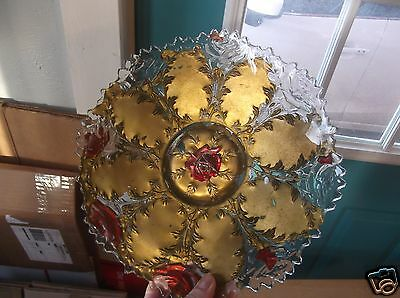 Vintage Goofus Glass Gold and Red Floral Design Plate