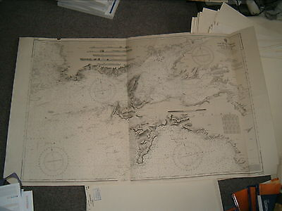 Vintage Admiralty Chart 2690 FRANCE - APPROACHES TO BREST 1922 edn