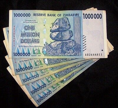 5 x Zimbabwe 1 Million Dollar Banknotes-paper money currency