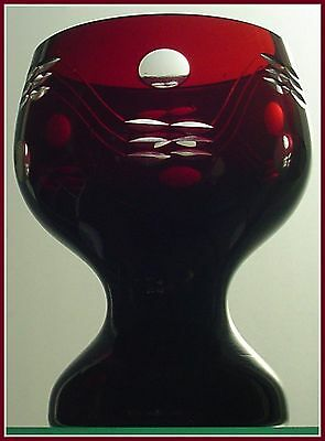 Dark RUBY RED Wine Chalice Goblet Hock CUT TO CLEAR Lead CRYSTAL Czech Bohemian