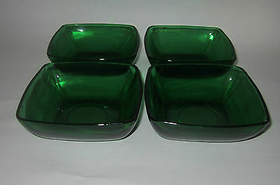 Anchor Hocking Forest Green Charm Four Berry Bowls
