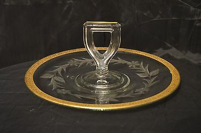 Vintage Heisey Glass Handled Serving Tray with Gold Encrusted Etched Floral Trim
