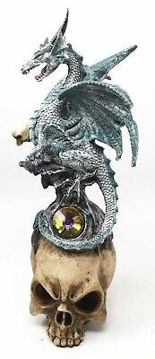 Guardian Dragon on Skull with Gem Figurine Decor Statue Fantasy Collectibles