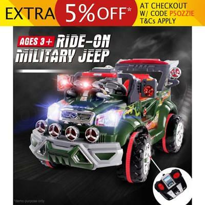 Kids Electric Ride On Car Military Jeep with Lights MP3 Music Remote Control Toy