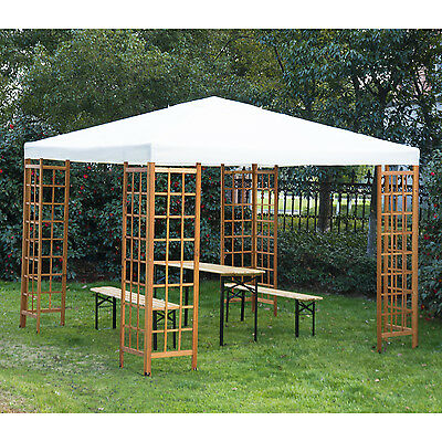 Outsunny 10'x10' Wooden Frame Gazebo Party Tent Top Cover Canopy Shelter Garden