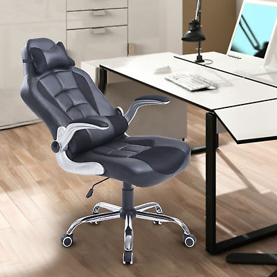 HOMCOM Faux Leather Racing Office Chair High Back Swivel Seat Recliner w/ Pillow