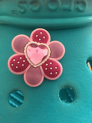 Pink Heart Dot Flower Genuine Jibbitz Shoe Charm For Crocs and Wristbands.