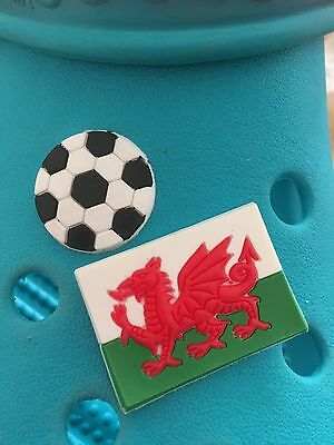 2 Welsh Football Shoe Charms For Crocs and Jibbitz Wristbands. Free UK P&P.