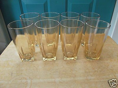 8 Iridescent Marigold Carnival 5 7/8-Inch Tea or Water Glasses w/ Square Base