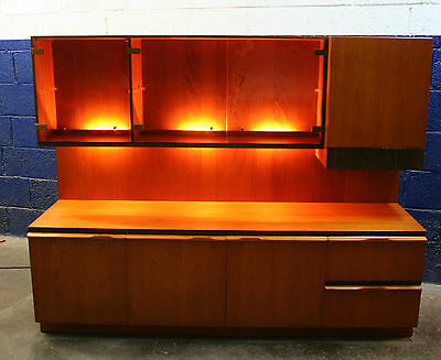 ~Vintage ~Retro ~Teak ~Low Wall Unit + Lights + Cocktail Cabinet ~ C1970's~ VGC~