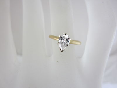 Estate 14K Two-Tone Gold 0.54Ct Diamond Solitaire Engagement Ring Gia $2,372.00