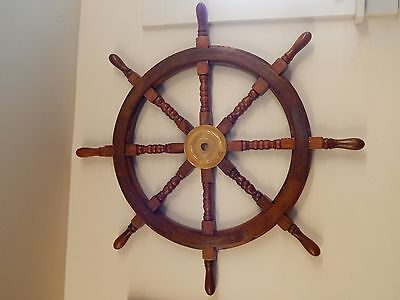 Wheel Nautical Ship Decor Wood Boat Brass Wooden Wall Steering Ships Pirate