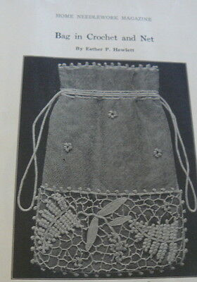 RARE VTG 1910s HOME NEEDLEWORK EMBROIDERY MAGAZINE CROCHET KNITTING BOOK 1916
