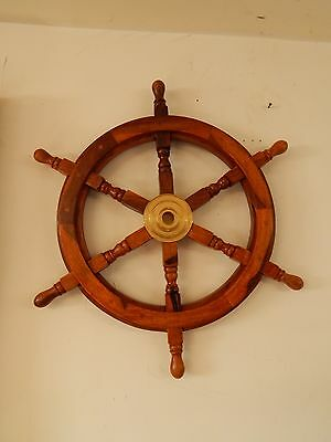 Wheel Nautical Ship Decor Wood Boat Brass Wooden Wall Steering Ships Pirate 24""