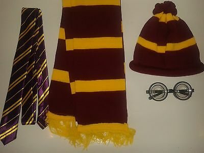 Wizard Harry Potter Type Hat Glasses Neck Tie Scarf Accessories For Fancy Dress