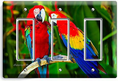 Tropical Parrots Love Birds Triple Gfci Light Switch Wall Plate Cover Home Decor