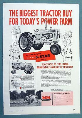 1957 Mineapolis Moline 5 Star Tractor Ad THE BIGGEST BUY FOR TODAYS POWER FARM