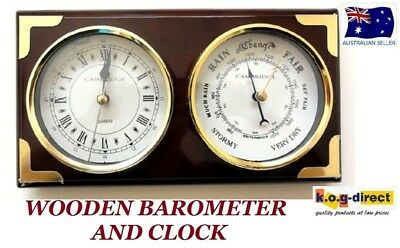 Wood Barometer & Clock By Cambridge Wooden Piano Finish With Gold Trimings (B)