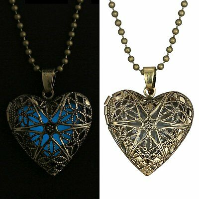 Glow in the Dark Stainless Steel Chain Heart Shape Locket Pendant Necklace Gift