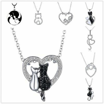 Cute Cat Silver Handmade Crystal Rhinestone Animal Pendant Necklace Jewelry New