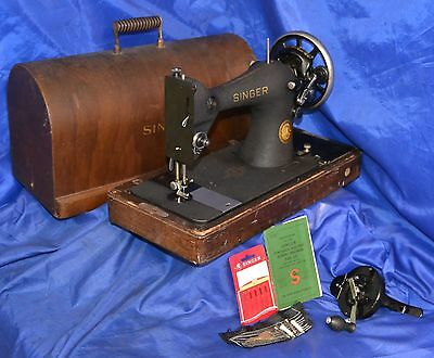 Singer 128-23 Long Shuttle Black Crinkle Sewing Machine 1952 Serviced