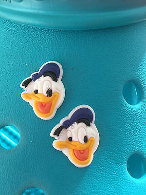 2 Donald Duck Shoe Charms For Crocs and Jibbitz Wristbands. Free UK P&P.