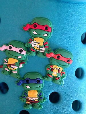 4 Teenage Mutant Ninja Turtles Shoe Charms For Crocs and Jibbitz Wristbands