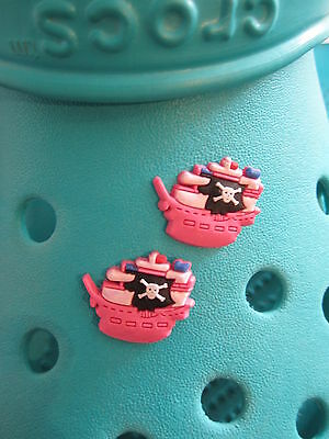 2 Pirate Ship Shoe Charms For Crocs and Jibbitz Wristbands. Free UK P&P.