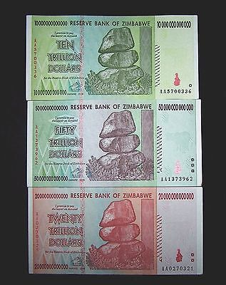 3 X Zimbabwe Banknotes 10 20 50 Trillion Dollars Paper Money Currency