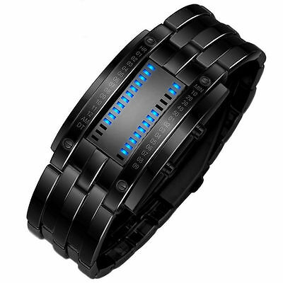 Waterproof Men's Women Stainless Steel Date Digital LED Bracelet Sport Watches