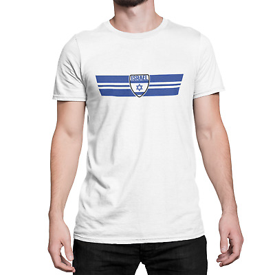 Mens Ringer T-Shirt ISRAEL RETRO STRIP Football,Olympics,Patriotism