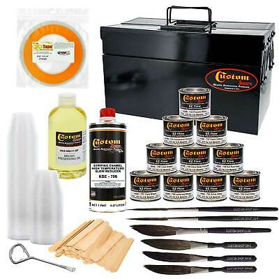 Pinstriping Color Box Kit 10 Colors, Chart, Reducer, Brushes & Mixing Equipment