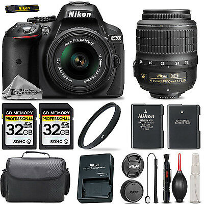 Nikon D5300 Camera With Nikon 18-55mm VR Lens + 64GB STORAGE + Extra Battery