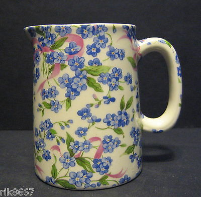 Heron Cross Pottery Forget-Me-Knot Chintz English 1/4 Pint Cream Jug