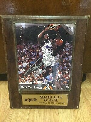 SHAQUILLE O'NEAL Autographed 8x10 W/ Plaque 1995 Scoring Champ Shaq Signature