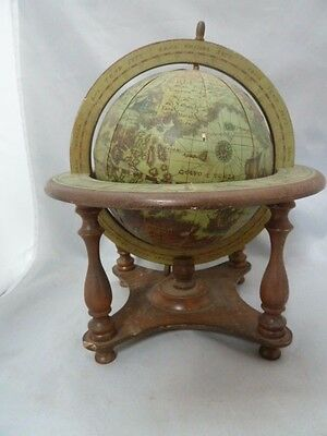 """Vintage wood Mini Nautical Paper Globe with Stand. Italy. Approx. 11"""" Tall"""