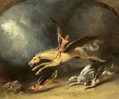 Oil painting william holbrook Beard - The Fox Hunter's Dream & flying horse art