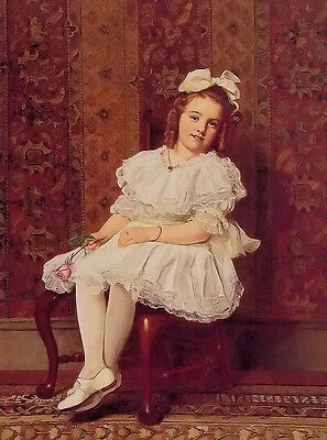 Oil painting john george brown - portrait of miss gibson beautiful girl seated