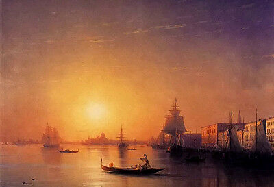 Oil painting aivazovsky - Venice sunset landscape with huge sail boats canoe 36""